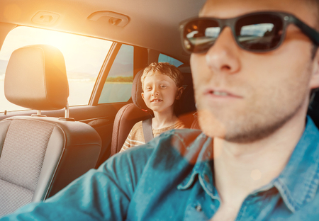 sun glasses: Happy long journey in car with father