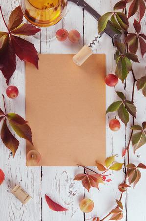 wine glass: Wine list food frame background