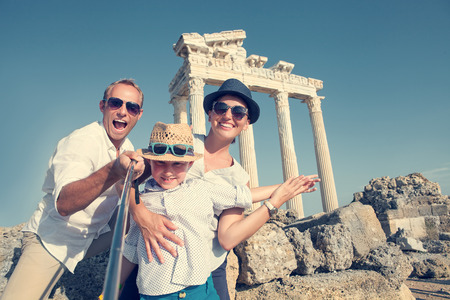 vacation summer: Happy family selfie photo on summer vacation Stock Photo