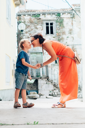 mamma e figlio: Mother and son tender kissing each other Archivio Fotografico
