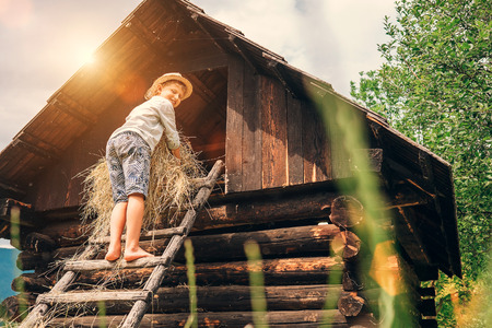 puts: Boy puts the hay in hayloft Stock Photo