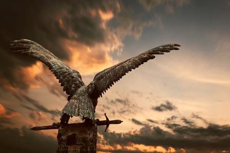 Cooper bird with a sword