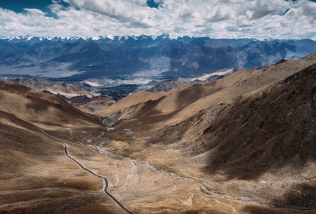 leh: Top view on the mountain road to Leh Ladakh