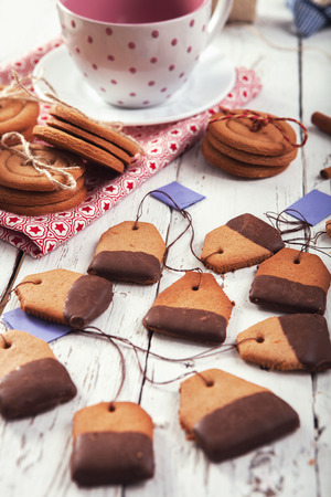Tea bags ginger cookies - traditional chrismas delicious Stock Photo