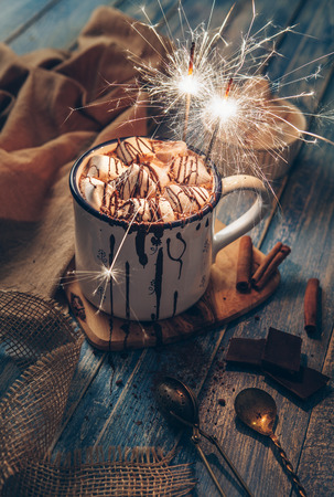 hot drink: Big mug hot chocolate with marshmallow candies and sparkles light