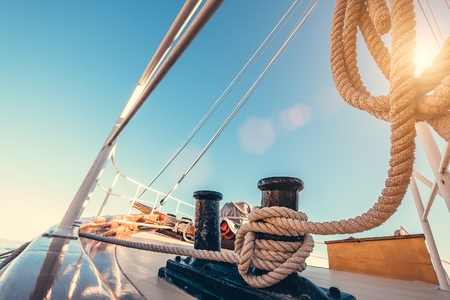 voyage: Luxury yacht tackle during the ocean voyage