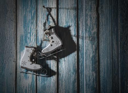 ded moroz: Retro ice skates decoratian for christmas tree
