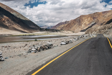 Deserted road in mountain region, North India, Ladkh