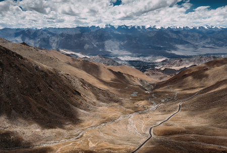 Top view on the mountain road to Leh Ladakh