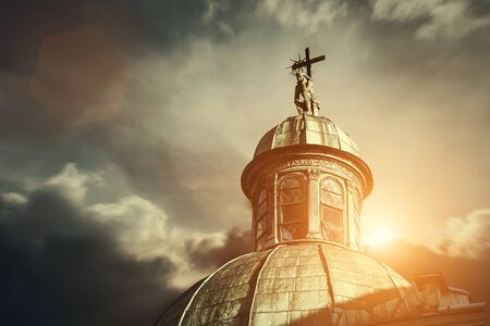 Pensive Christ on the dome of Boim Chapel in Lviv, Ukraine Stock Photo