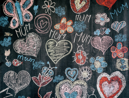 Child chalk drawing on black chalkboard with congrats to mother day