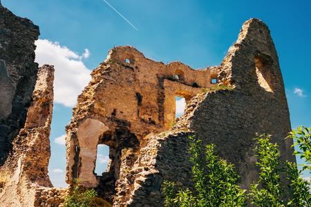 Ruined walls Lietava Castle in Slovakia Stock Photo