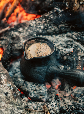 Making coffee process on the campfire