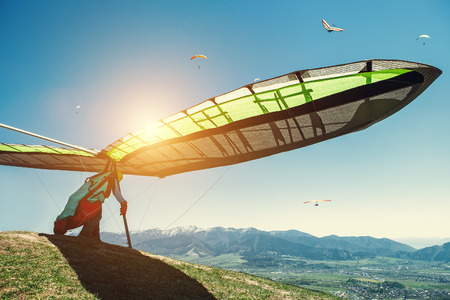 Hang-glider starting to fly