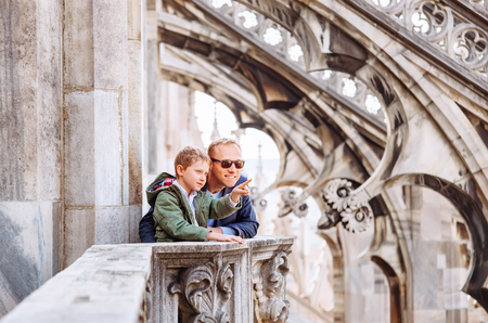milánó: Father with son tourists are on the roof of Milan Cathedral - Duomo di Milano