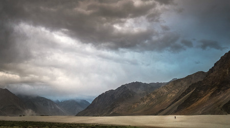 Desert storm over the Sands in Nubra Valley, North India Stock Photo - 89221760