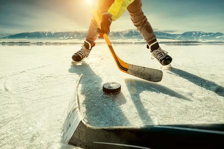 IJshockey spelmoment Stockfoto