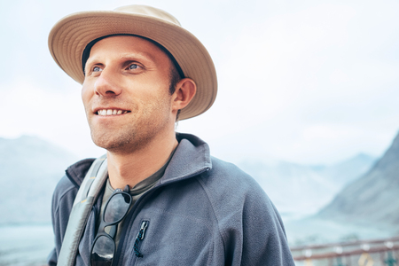 Traveler man in hat portrait