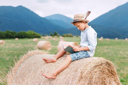 Reading boy sits over the haystack roll on the mountain field in countryside