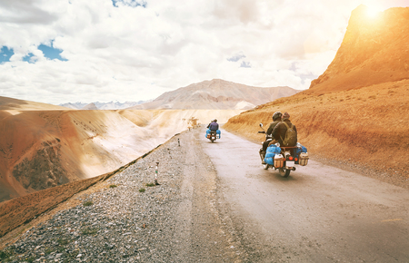Motorcycle travelers ride in indian Himalaya roads Stock Photo - 102046511