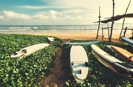 Surf point on ocean beach Stock Photo