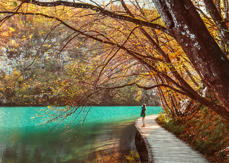 Boy stay on wooden bridge over the mountain lake, golden autumn time