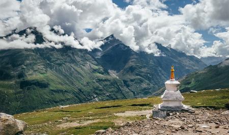 Ritual buddhist stupa on Rohtang La mountain pass in indian Himalaya