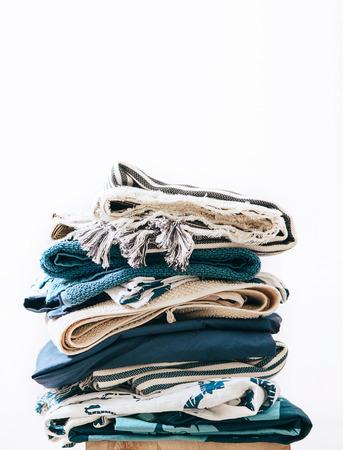 Pile of blue and beige laundry 2 Banco de Imagens