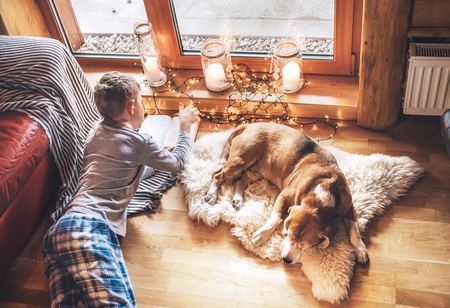 Boy reading book on the floor near slipping his beagle dog on sheepskin in cozy home atmosphere. Peaceful moments of cozy home concept image.