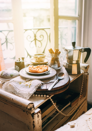 Morning coffee with biscuits. Italy morning. Vintage style