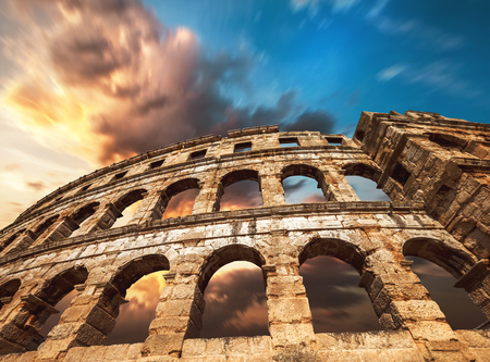 Pula amfitheater with dramatic sky Stock Photo