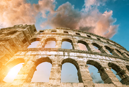 Pula amfitheater with dramatic sky Stock Photo
