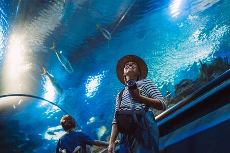 Young female with modern photo camera walking in indoor huge aquarium tunnel, enjoying a underwater sea inhabitants. Around the world traveling concept image. Stockfoto