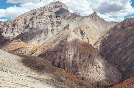 Picturesque mountain landscape with ancient Silk Way remains on the endless Leh - Manali road.