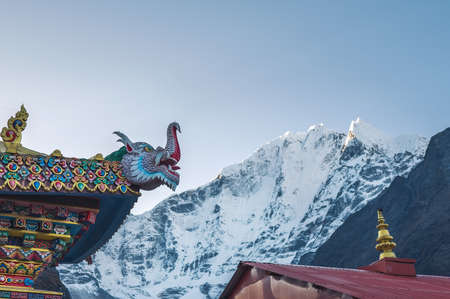 Tengboche Monastery roof traditional Tibetan Buddhism decoration