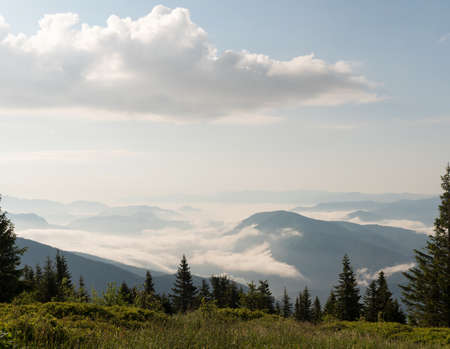Stunning morning landscape view of the fog river flowing by the valley between the mountains. Mala Fatra mountains, Slovak Republic.