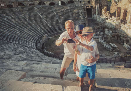 Family take  vacation selfie photo