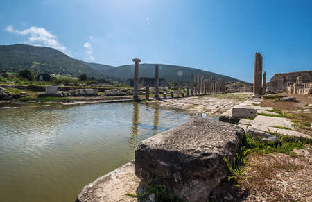The main street of ancient Patara (Lycia) city. Now it flooded as a pond. Mediterranean coast of Turkey. Architecture Art and traveling around the world concept image.