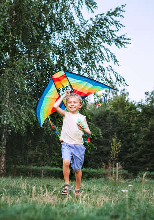 Funny childhood with lovely toys concept image. Cheerful little blonde hair boy running with a multicolored kite on the city park green grass meadow.