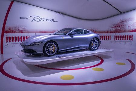 Modena, Italy - July  14, 2021: Gray color Ferrari Roma type F169 grand touring coupe, high performance Italian sports car 3.9 L Ferrari F154BH V8 twin-turbocharged in Museo Casa Enzo Ferrari, Italy. 新闻类图片