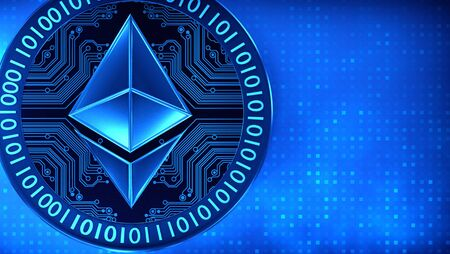 Ethereum coin in a blue digital finish, 3D illustration Zdjęcie Seryjne