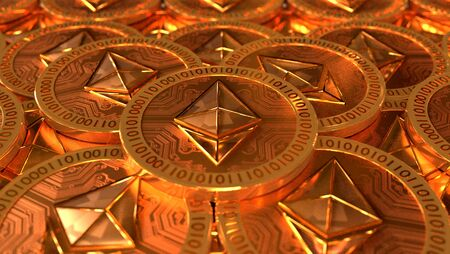 Some ethereum coins with go finish finish 3D illustration Stok Fotoğraf