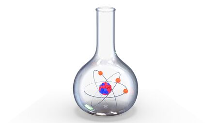Alchemy flask with an atom inside, 3d illustration