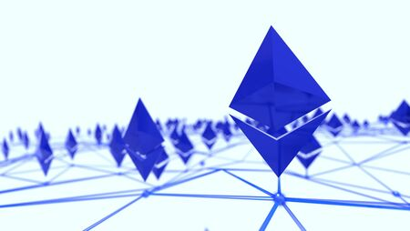 Ethereum 3d logo in a network, 3d rendering