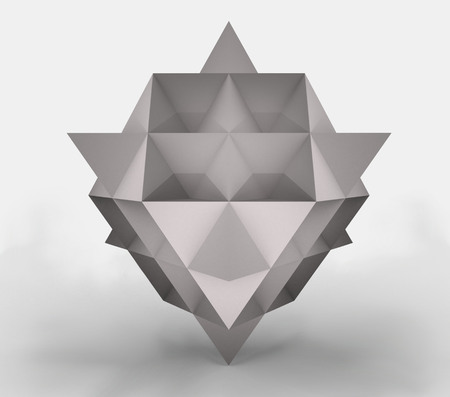 3d render of a tetrahedron made of paper, 3d illustration