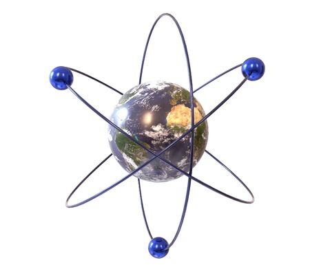 Analogy of the earth and the atom, 3d illustration