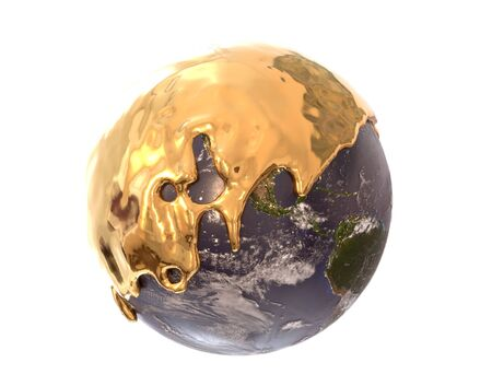Earth covered with liquid gold, 3d illustration