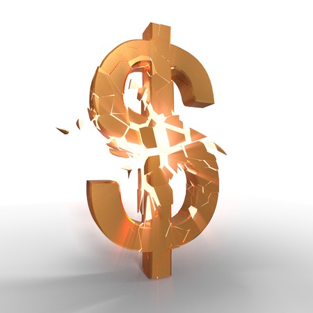 Dollar icon of gold exploiting, 3d rendering Stok Fotoğraf