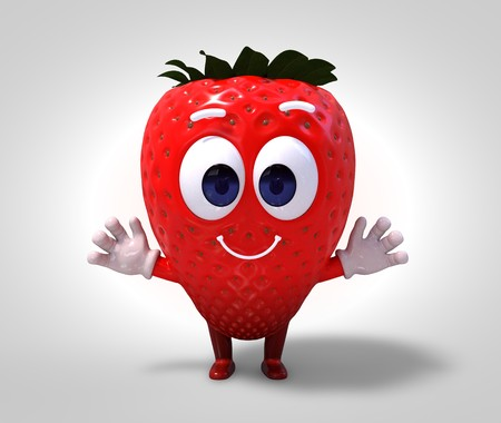 strawberry character with big eyes, 3d rendering Stok Fotoğraf