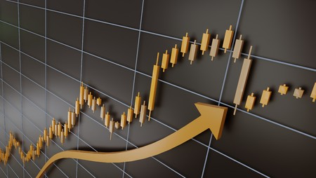 Trading chart and candlestick of gold, 3d rendering